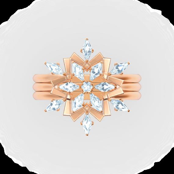 Magic Ring Set, White, Rose-gold tone plated
