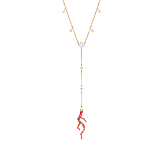 Shell Y Necklace, Red, Gold-tone plated