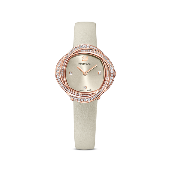 Crystal Flower Watch, Leather strap, Grey, Rose-gold tone PVD