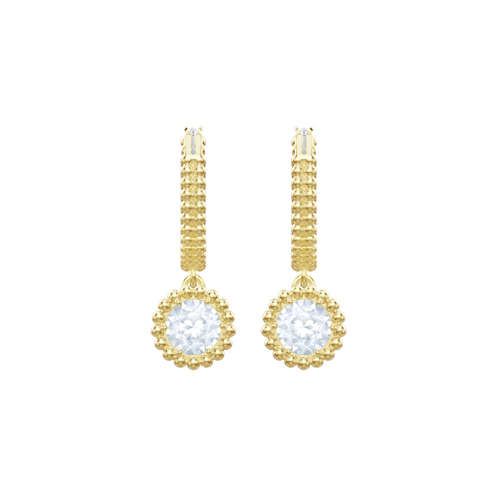Oxygen Pierced Earrings, White, Gold plating