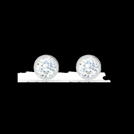 Tennis Stud Pierced Earrings, White, Rhodium plated