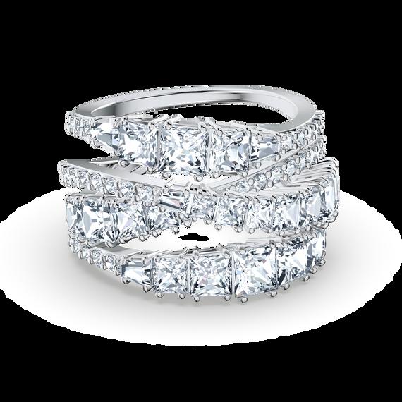 Twist Wrap Ring, White, Rhodium plated