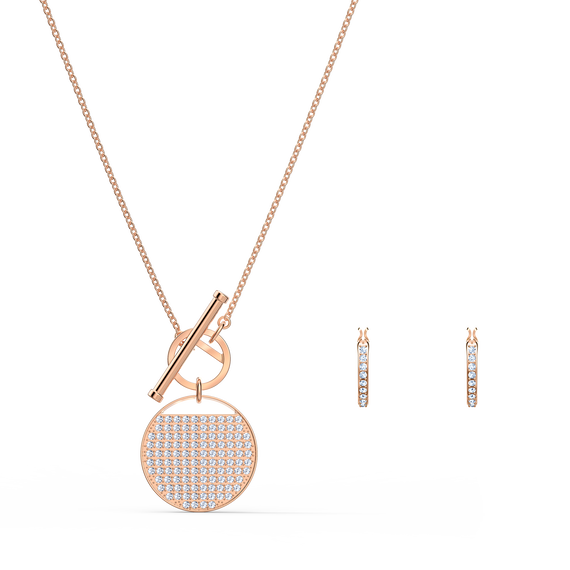 Ginger T Bar Set, White, Rose-gold tone plated