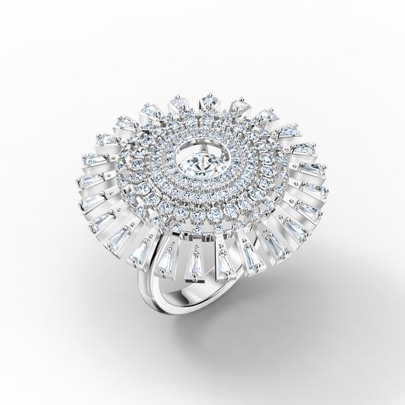 Swarovski Sparkling Dance Dial Up Ring, White, Rhodium plated