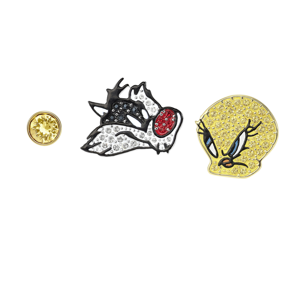 Looney Tunes Pierced Earrings, Multi-colored, Mixed metal finish
