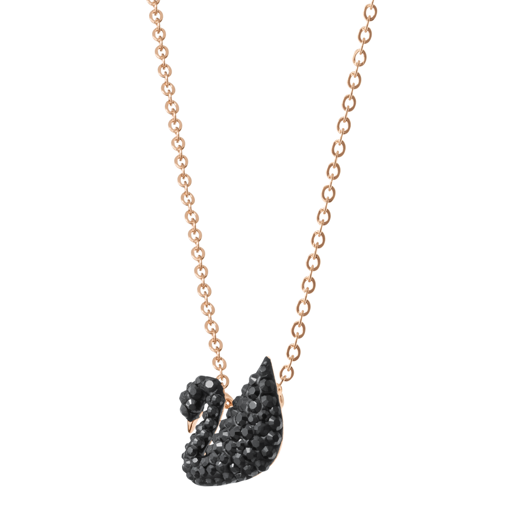 Iconic Swan Pendant, Small, Black, Rose Gold Plated
