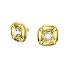 Dulcis earrings,  Square, Cushion cut crystals, Gold-tone plated
