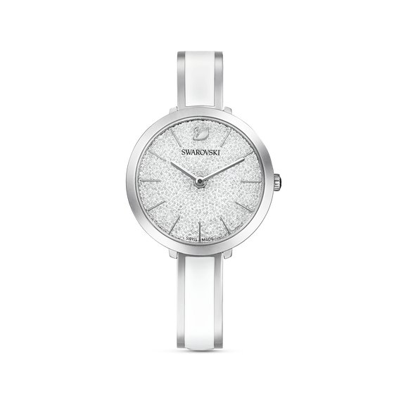 Crystalline Delight Watch, Metal Bracelet, White, Stainless Steel