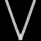 Stone Round Pendant, White, Rhodium Plating