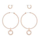 Stone Pierced Earring Set, Pink, Rose Gold Plating