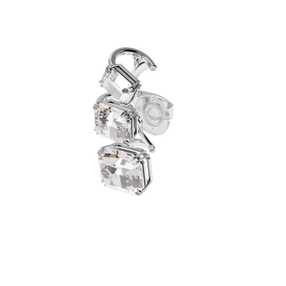 Millenia ear cuff, Graduated crystals, White, Rhodium plated