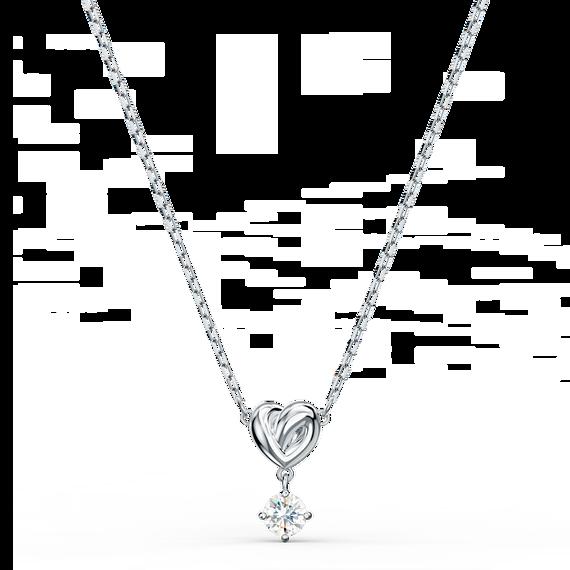 Lifelong Heart Pendant, White, Rhodium plated
