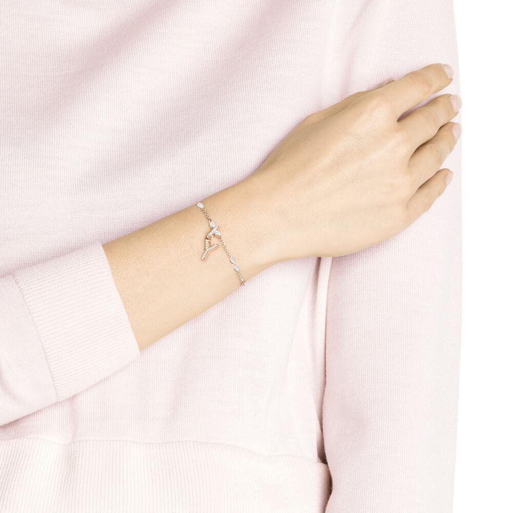 Swarovski Remix Collection Charm Y, White, Rose Gold Plating