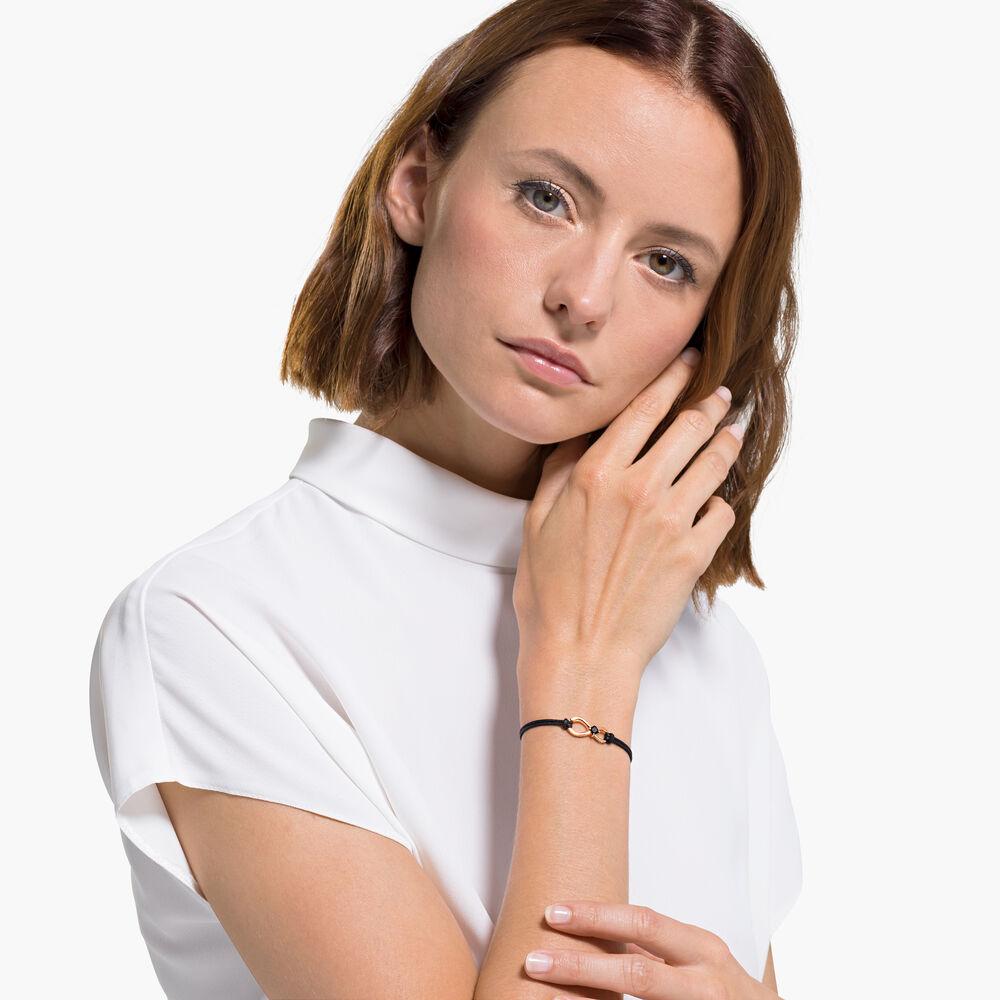Swarovski Infinity Bracelet, Black, Rose-gold tone plated