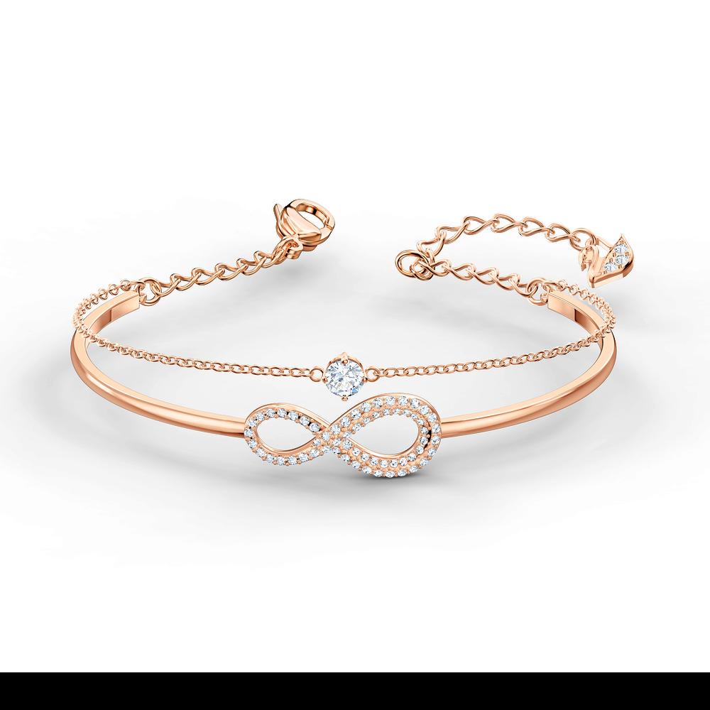 Swarovski Infinity Bangle, White, Rose-gold tone plated