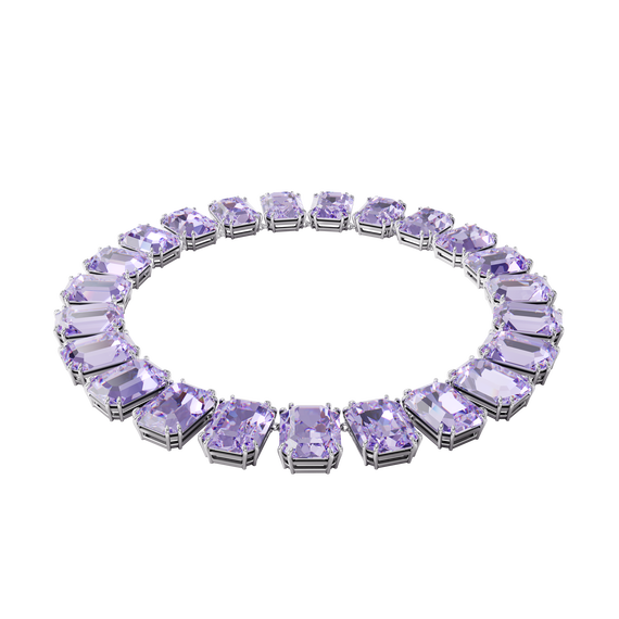 Millenia necklace, Octagon cut crystals, Purple, Rhodium plated