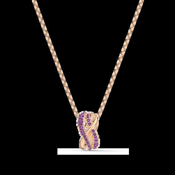 Twist Rows Pendant, Purple, Rose-gold tone plated
