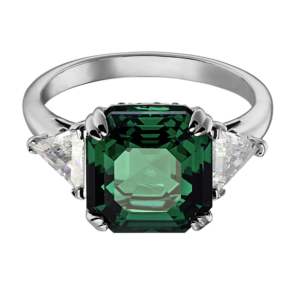 Attract Cocktail Ring, Green, Rhodium plated