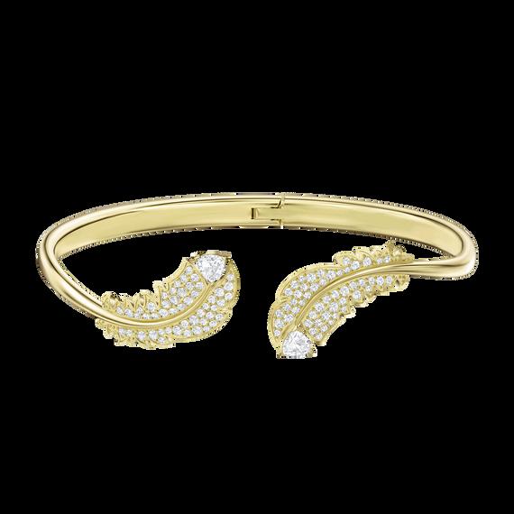 Nice Bangle, White, Gold-tone plated