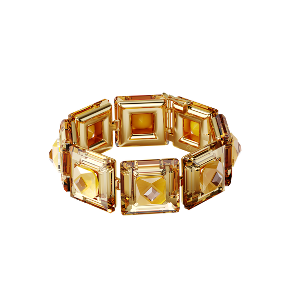 Chroma bracelet, Cushion cut crystals, Yellow, Gold tone plated