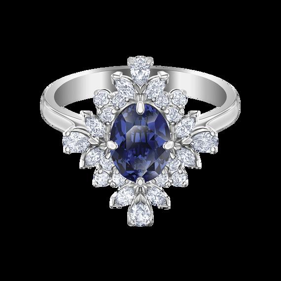 Palace Motif Ring, Blue, Rhodium plated