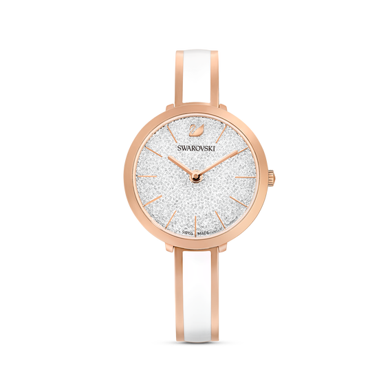 Crystalline Delight Watch, Metal Bracelet, White, Rose-gold tone PVD