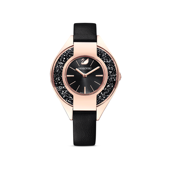 Crystalline Sporty Watch, Leather strap, Black, Rose-gold tone PVD