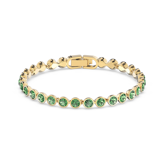 Tennis Bracelet, Green, Gold-tone plated