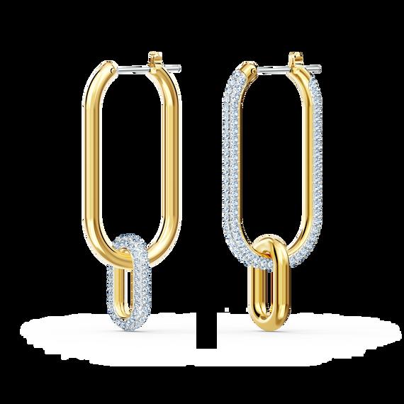 Time Hoop Pierced Earrings, White, Mixed metal finish
