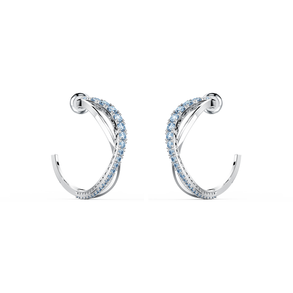 Twist Hoop Pierced Earrings, Blue, Rhodium plated