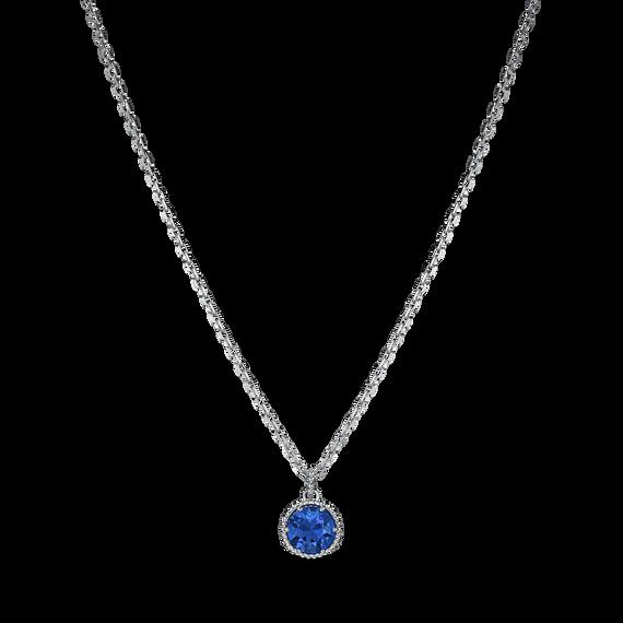 Birthstone Pendant, September, Blue, Rhodium plated