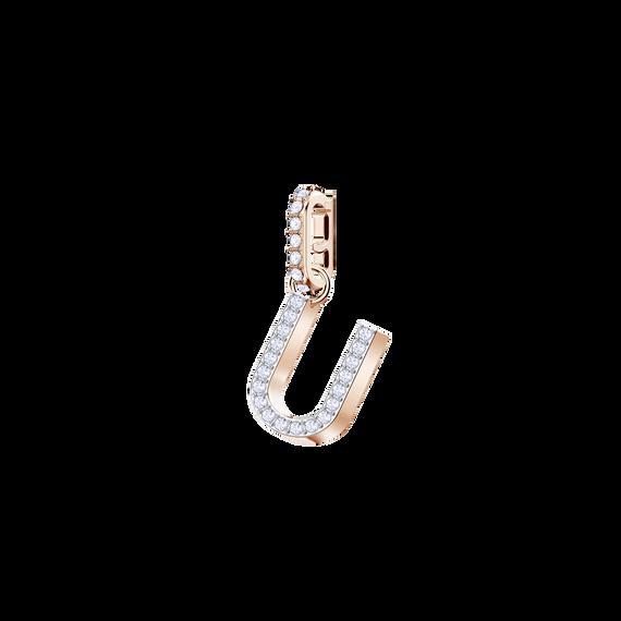 Swarovski Remix Collection Charm U, White, Rose Gold Plating