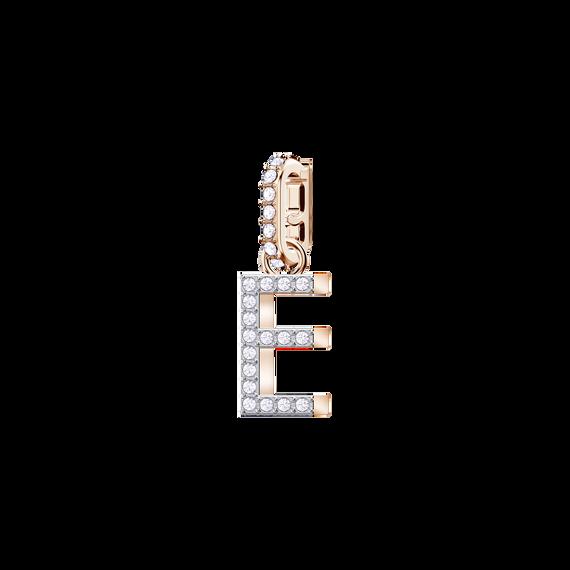 Swarovski Remix Collection Charm E, White, Rose Gold Plating
