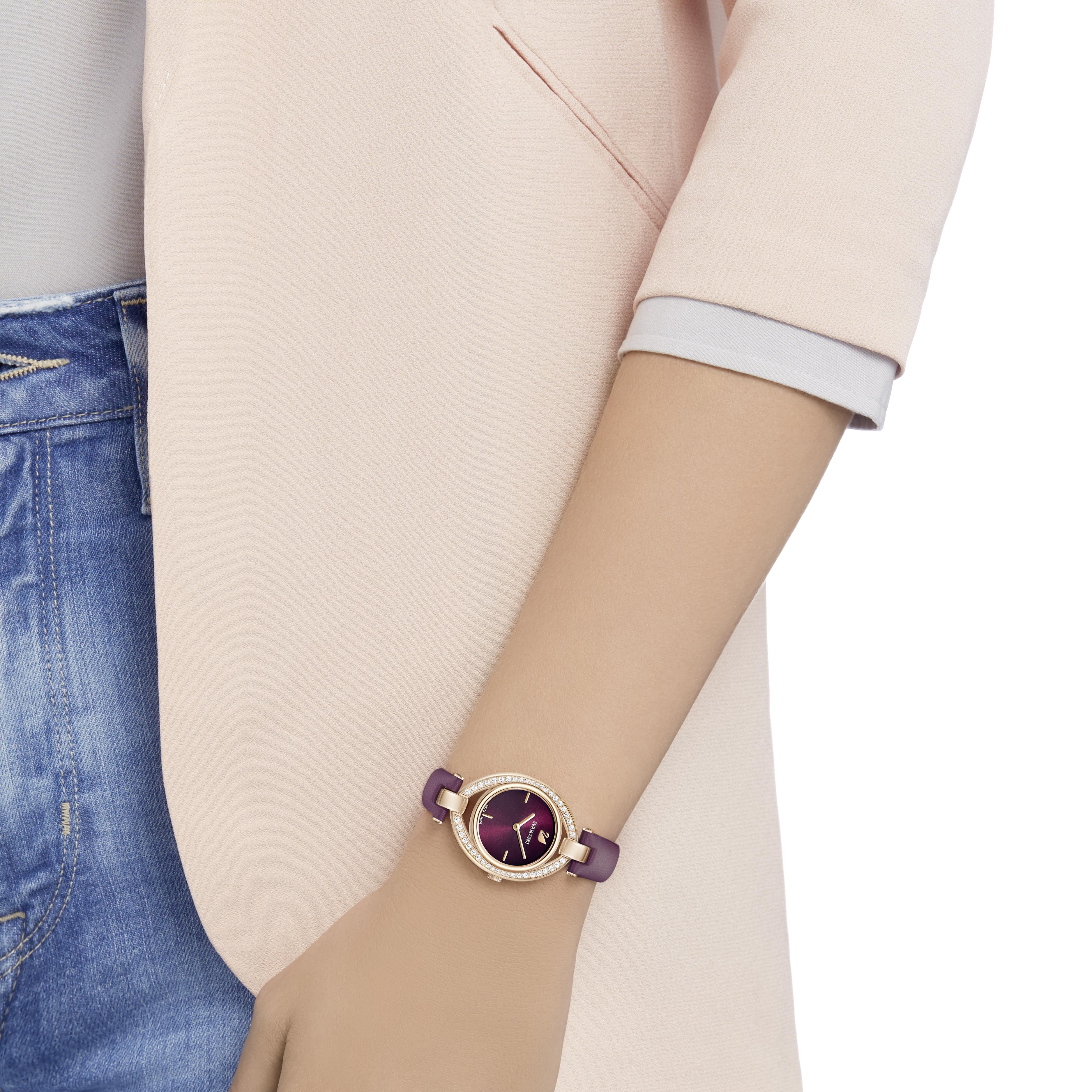 Stella Watch, Leather Strap, Dark Red, Rose Gold Tone