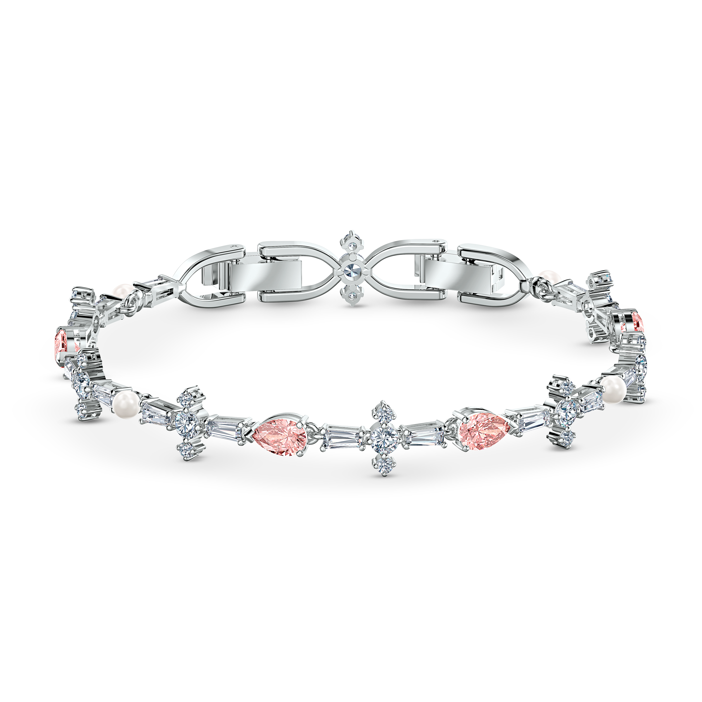 Perfection Set, Pink, Rhodium plated