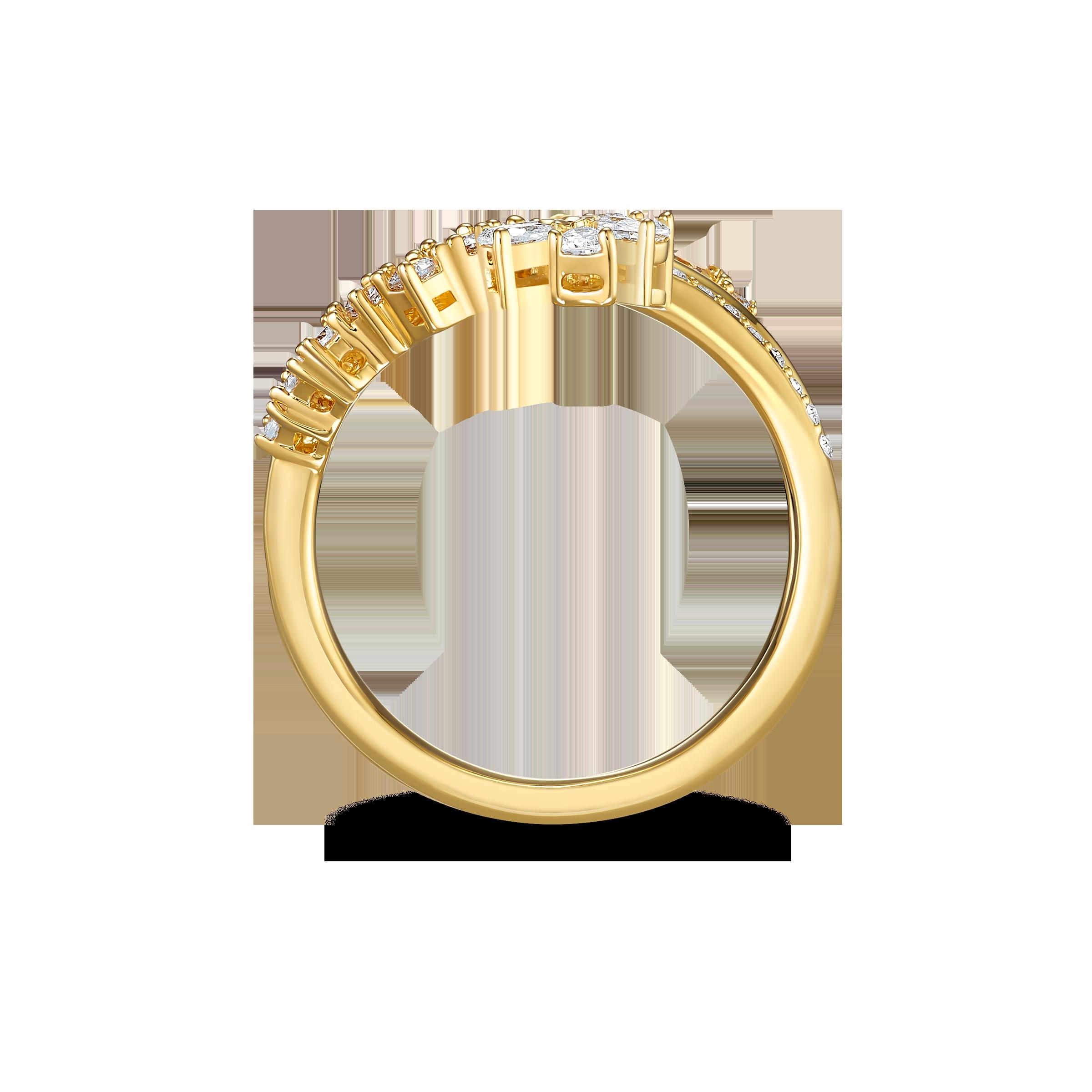 Botanical Ring, White, Gold-tone plated