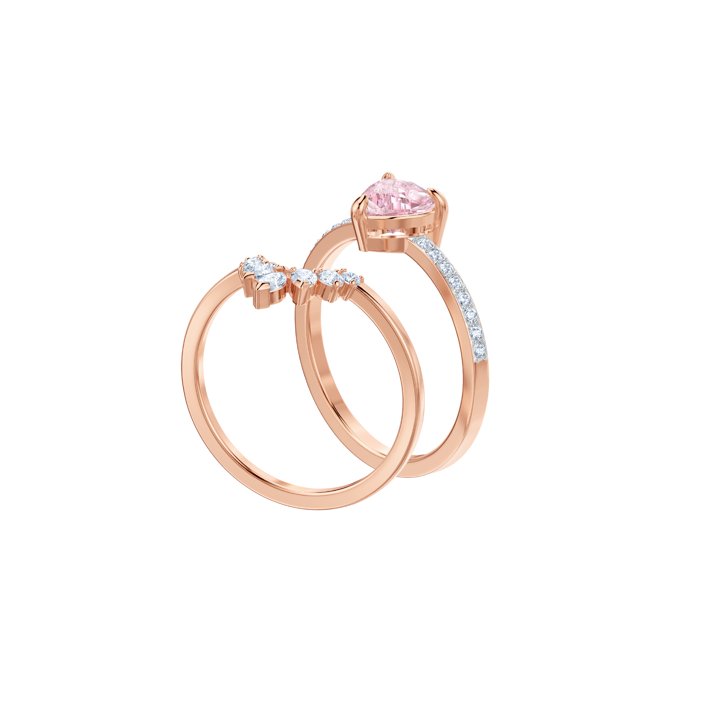 One Ring Set, Multi-colored, Rose gold plating