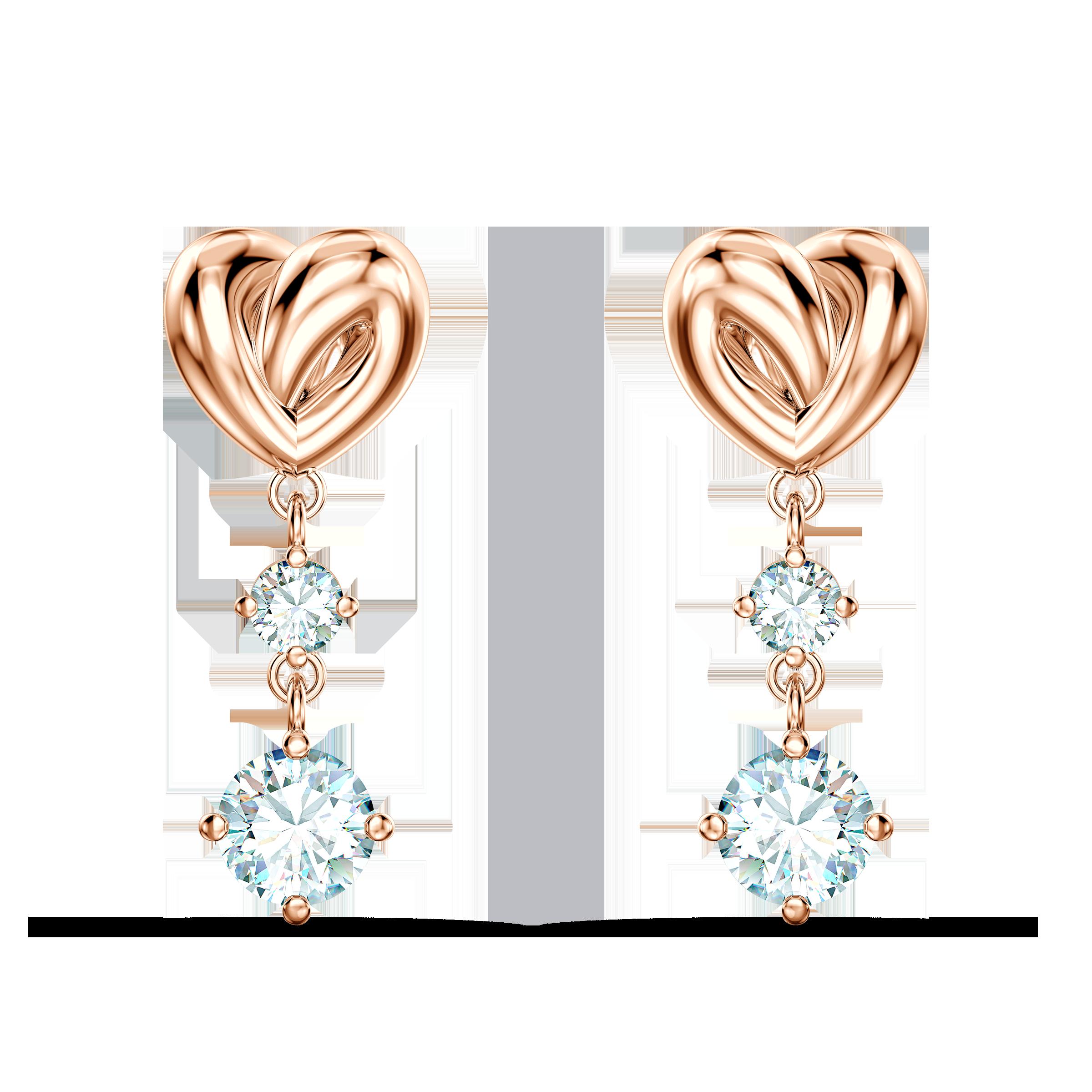 Lifelong Heart Pierced Earrings, White, Rose-gold tone plated