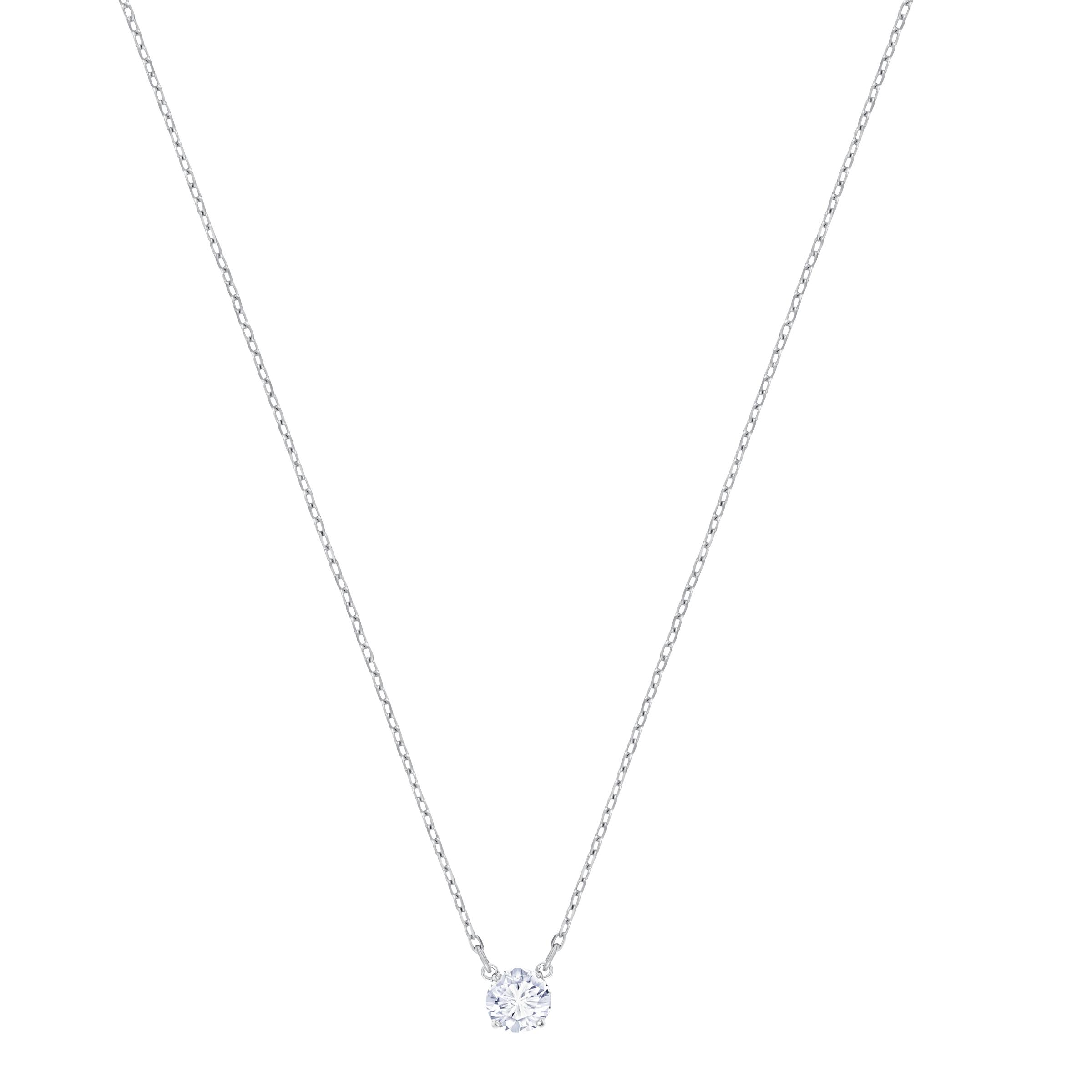 Attract Round Necklace, White, Rhodium Plating
